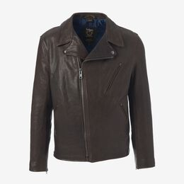 Leather Moto Jacket, 1016559 Brown, blockout