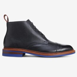 Patton Cap-Toe Boot with Dainite Rubber Sole, 3595 Black Tumbled Leather with Blue Sole, blockout