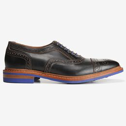 Strandmok Cap-Toe Oxford with Dainite Rubber Sole, 5555 Black with Blue Sole, blockout