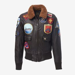 Movie Heroes Top Gun Navy G-1 Jacket by Cockpit USA, 1017758 Brown, blockout