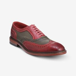 Jingle Bell Mok Wingtip Oxfords, 4625 Red and Green Distressed Leather, blockout
