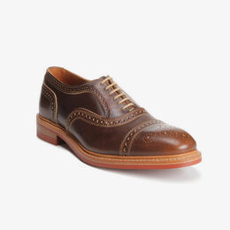Strandmok Cap-Toe Oxford with Dainite Rubber Sole, 4027 Brown with Red Sole, blockout