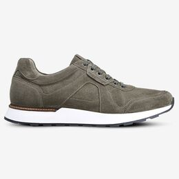 A-Trainer Lace-Up Sneaker, 3173 Grey Suede, blockout