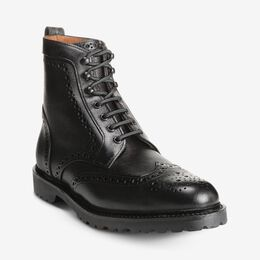 Long Branch Wingtip Boots, 6039 Black, blockout