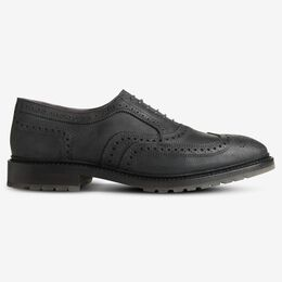McTavish Oxford Wingtip Waxed Suede Dress Shoe, 2820 Black Waxed Suede, blockout