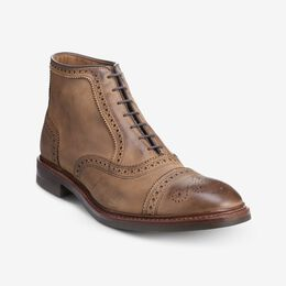Hamilton Cap-Toe Oxford Dress Boot, 3567 Tan Nubuck with Olive Sole, blockout